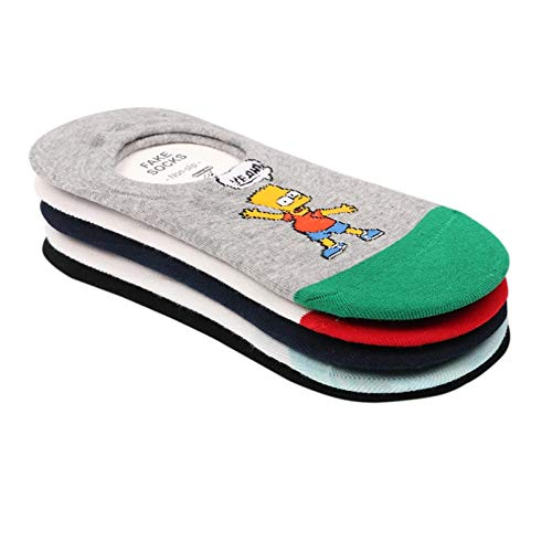 MIWNXM 10 Paare Summer Women Socks Cotton Cartoon Socks Simpsons Family Novelty Kawaii Cute Sox Animals Funny Happy Socks for Girls Slippers