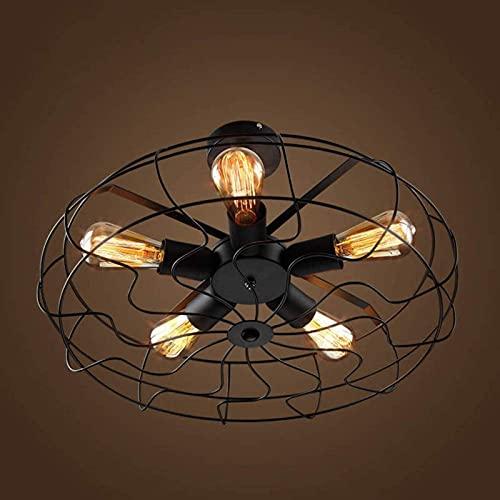 DZCGTP Iluminación de Boutique-Candelabro LED Moderno Iluminación de Techo empotrada País Americano Lámpara de Personalidad Creativa Industrial Ventilador eléctrico Retro Europeo