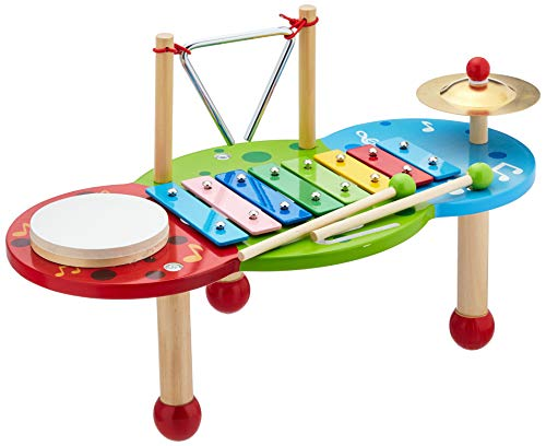 """small foot 2418 Xylophon """"Deluxe"""" aus Holz, mit 8-Ton-Xylophon, Triangel, Schelle und Trommel"""
