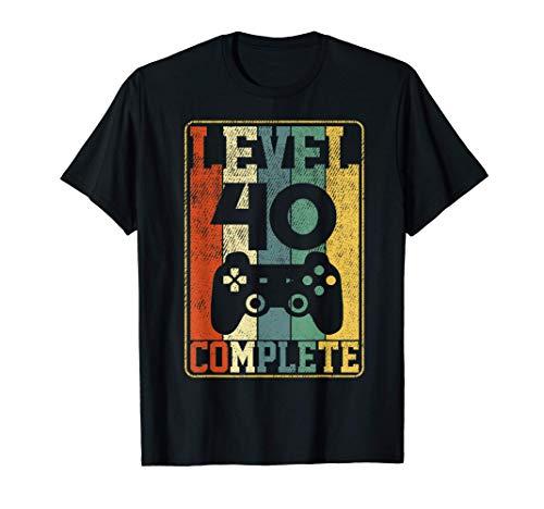 40 Cumpleaños Regalo Para Hombres 40 Años level 40 complete Camiseta
