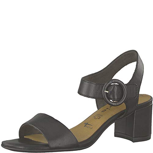 Tamaris 1-1-28324-22 Damen Riemchensandale,Sandale,Sandalette,Sommerschuh,Absatz,Touch-IT,Black Leather,37 EU