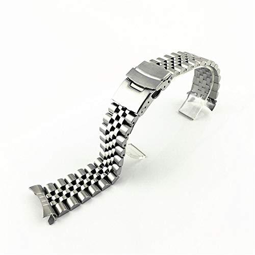 ZZDH Correas Relojes Acero Inoxidable 20mm 22mm de Acero Inoxidable de Acero Inoxidable Sólido Curved End Metal Pulsera Accesorios de Banda para Hombres para Hombres Mujeres