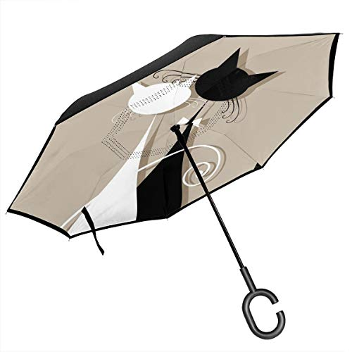Save %46 Now! ACHOGI Couple Cats Together Windproof Double Layer Folding Inverted Umbrella, Self Sta...