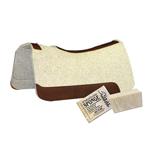 """5 Star Equine Horse Saddle Pad - 7/8"""" Thick Western Contoured Natural Pad - The Barrel Racer 30"""" X 28"""" Free Sponge Saddle Pad Cleaner Included"""