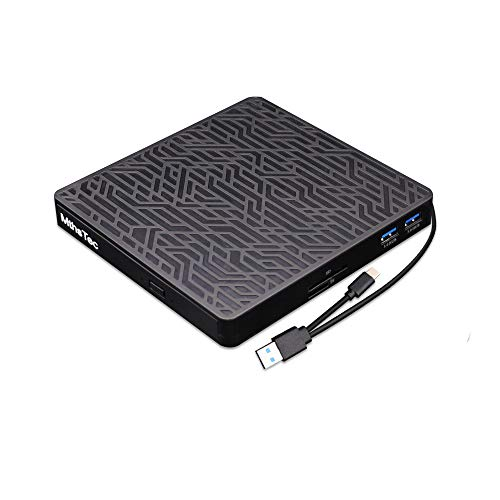 MthsTec External DVD CD Drive, 2-Port Hub USB 3.0...