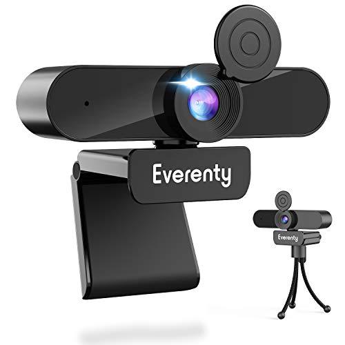 Everenty 1440P Full HD Webcam PC Webcam con Micrófono Estéreo, Cámara Web para Videollamadas, Estudiar en Línea, Grabación y Conferencias, Compatible con Windows, Mac y Android