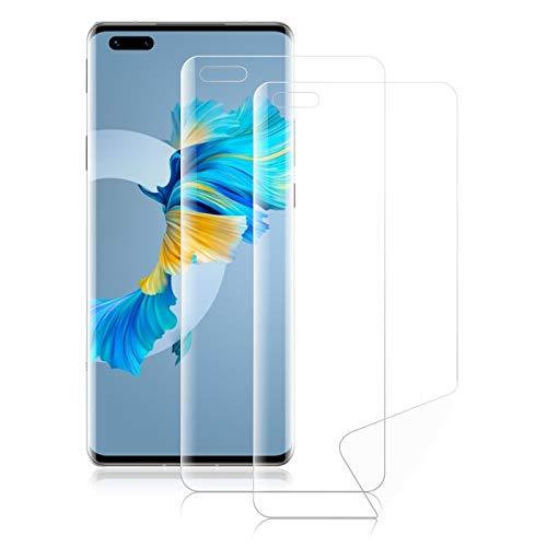 ROVLAK Schutzfolie für Huawei Mate 40 Pro Hydrogel Flex Folie Vollständige Deckung Weiche HD Anti-Fingerprint Hohe Empfindlichkeit Bildschirmschutzfolie für Huawei Mate 40 Pro [2-Pack]