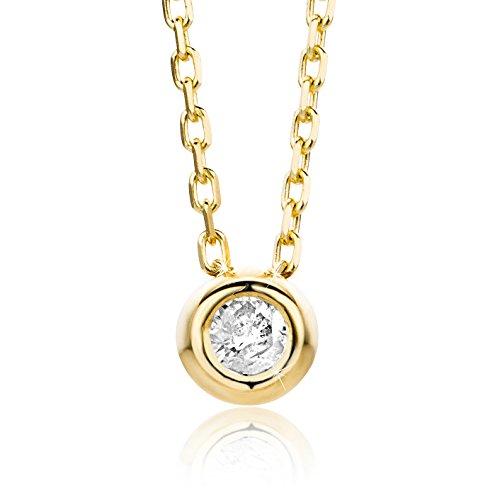 Orovi Damen Halskette mit Diamant GelbGold Kette 9 Karat (375) Brillanten 0.04crt, Goldkette