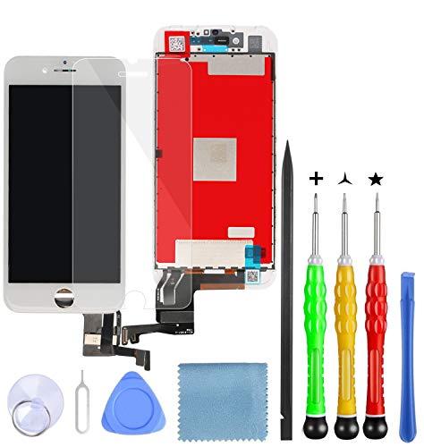 Lansupp Pantalla para iPhone 7 Plus Táctil LCD Pantalla Reemplazo Ensamblaje de Marco Digitalizador con Herramientas de Reparación(Blanco)