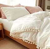 Softta Girls Bedding White Duvet Cover Full 3 Pcs Ruffle Pom-Fringe Pompoms Bohemian Bedding 100% Washed Cotton Boho Baby Teen Girls Bed Cover