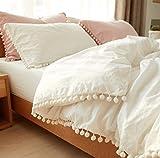 Softta Bohemian Bedding Queen White Vintage Pom-Fringe Pompom Duvet Cover 3 Pcs Boho Quilt Cover 100% Washed Cotton Baby Teen Girls