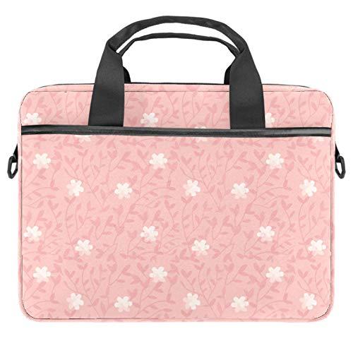 Shoulder Laptop Messenger Bag 15 Inch Computer Handbag Case Cover Briefcases for Men Women Little White Floral Willow Pink