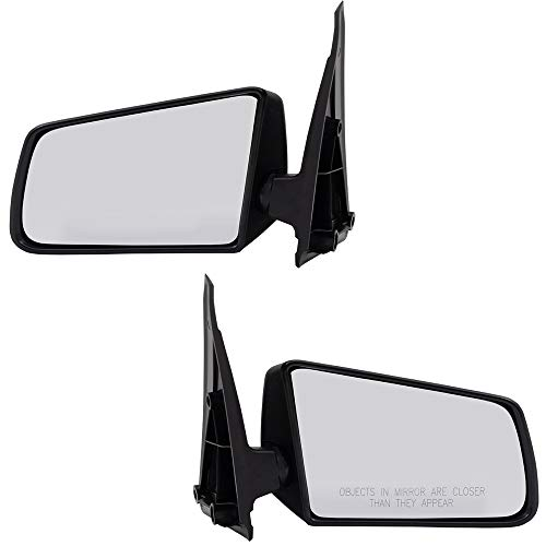 Replacement Driver and Passenger Set Manual Side Door Mirrors Standard Type Textured Compatible with 1985-1993 S10 Pickup Truck Blazer