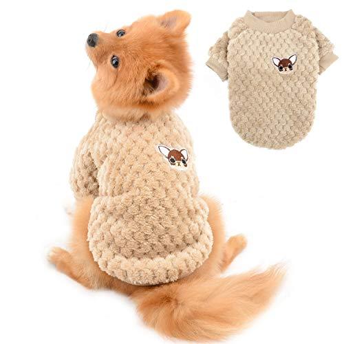 SELMAI Pullover für Kleine Hunde Mittelgroße Weich Warm Flauschiger Kleider Welpe Chihuahua Mantel Dackel Plüsch Kleidung Katzen Haustiere Tägliche Tragen Winddichtes Kaltes Wetter Winter Braun M