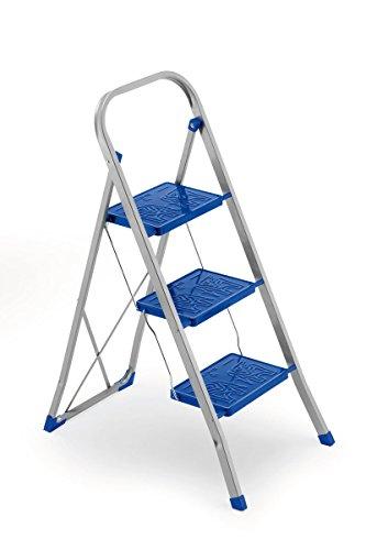 FRAMAR Slimmy 3 Sgabello con 3 Gradini Antiscivolo, Blocco di Sicurezza e Piedini Angolari Stabilizzanti, Portata 150 kg, 46 x 70 x 105 cm, Acciaio, Blu