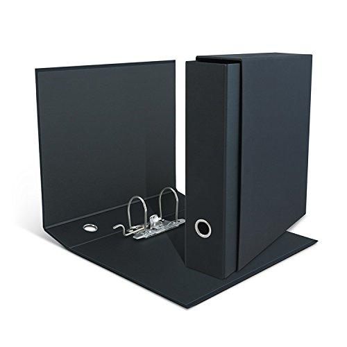 """Clam Raccoglitore Nero""""Total Black"""" Con Custodia Formato Commerciale Uni A4, Dorso 8 Cm, Meccanismo A Leva"""