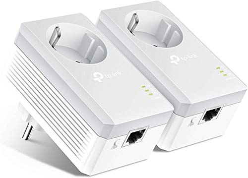 TP-Link TL-PA4010P KIT 600Mbit/s 2-Ports Passthrough Steckdose Powerline Adapter Set (2x10/100Mbit/s-Ethernet-Port, Plug & Play, energiesparend, kompatibel zu allen gängigen Powerline Adaptern) weiß