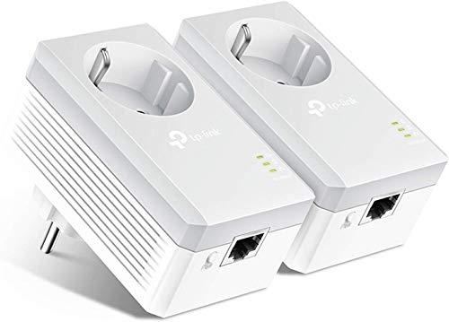 TP-Link CPL 600 Mbps avec Prise Intégrée et Ports Ethernet, Prise CPL Kit de 2, Compatible avec tous les Anciens Modèles et toutes les box internet,TL-PA4010P KIT
