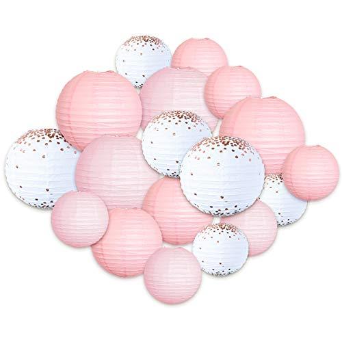 Nicrolandee, lanterne di carta rosa e bianche, ideali come decorazioni per compleanni, matrimoni, san Valentino, per interni ed esterni, 18 pezzi