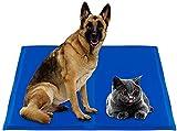 Alfombra Refrescante para Perro, 60 * 50 CM, Auto Refrigerante No Tóxico,Ideal para Perros, Gatos en Verano (L: 65 X 50 CM, Azul Marino)