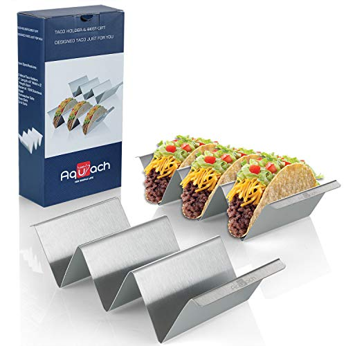 Taco Holders Stainless Steel Set of 2, Oven&Grill&Dishwasher Safe, Taco Accessories for Taco Tuesday Party, Easy-To-Hold Handle, Smooth Edge for Safe Use