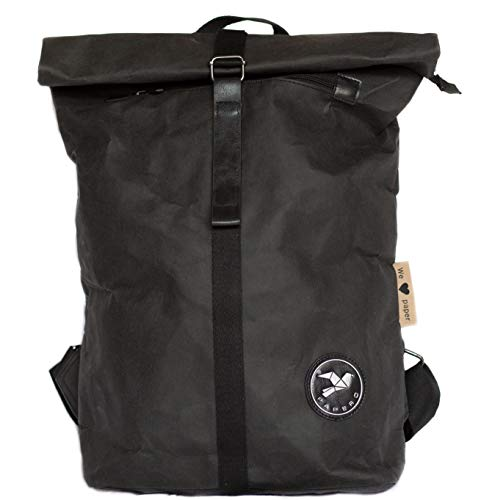 PAPERO ®Ultra minimalistisch | Rucksack Herren Damen Unisex Waschbarem Kraftpapier Leicht, Robust, Wasserfest Vegan nachhaltig FSC Zertifiziert Rolltop,Taschen, Backpack,Laptop (Schwarz)