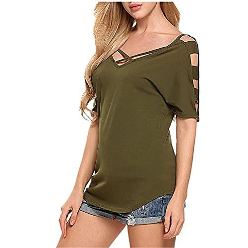 Camiseta Mujer Sexy Slim Fit con Cuello En V Camiseta Verano Moda Manga Corta Fibra Elstica Tela Cmoda Elegante Mujer Tops Camisetas Minimalistas De Todo Fsforo C-Army Green XL