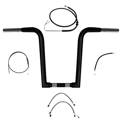 1 1/4' BBlack Wild 1 WO614 14' Ape Hanger Kit for 2016 and newer Harley-Davidson Softail models with ABS Brakes - BC-0601-3158-ST16-ABS-BC