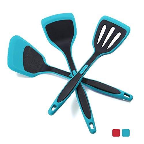 DESLON BPA Free & Food Grade Silicone Spatulas - High Heat Resistant Non-Stick Silicone Rubber Spatula for Cooking, Baking and Mixing-(Spatulas Three-piece set -Teal Blue)