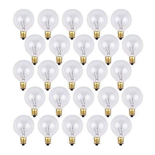 Bombillas de repuesto OxyLED G40 para luces de cadena de jardín al aire libre, con 25 bombillas transparentes, blanco cálido, nivel A