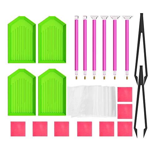display08 40 pcs/lot Bricolage Diamant Kits de Outil de Peinture Plastique Plaque Pince à épiler Pen Accessoires Multicolore