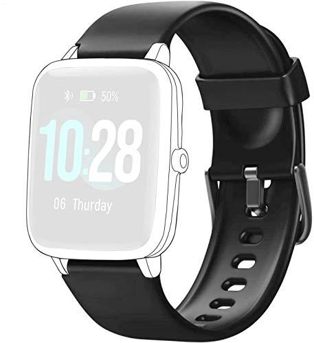 ID205L - Correa de reloj inteligente de malla de acero inoxidable para reloj inteligente ID205L, ID205G ID205 ID205U ID205S negro