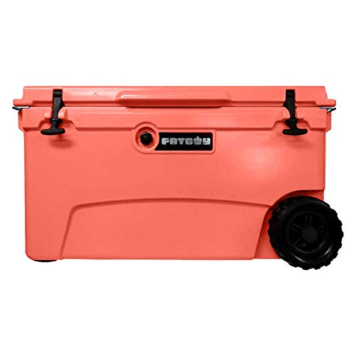 Fatboy 70QT Rotomolded Wheeled Chest Ice Box Cooler in Coral