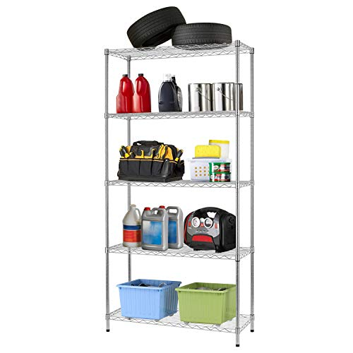 14Lx36Wx72H 5 Shelf Wire Shelving Unit Garage Heavy Duty Height Adjustable Commercial Grade NSF Certification Utility Rolling Steel Layer Rack Organizer Kitchen