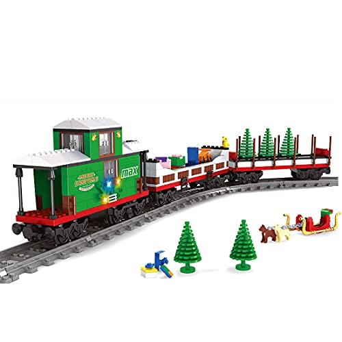 WWEI Technik City Güterzug Zug Bausteine Eisenbahn Bausteine, Bausteine Zug mit Schienenset 592 Teile Konstruktionsspielzeug Kompatibel mit Lego 60197 Technik-Dynamische Version