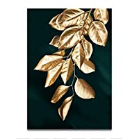 金箔ポスターフレームレス塗装、黒帆布装飾トロピカルリーフ塗装、ホームオフィス、リビングルーム、寝室のシンプルなスタイルの装飾に適しています