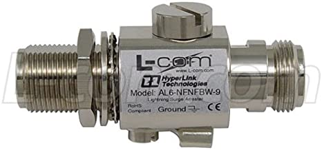 L-com Connectivity AL6-NFNFBW-9 Surge Protector, Bulkhead, 0-6 GHz, Type N-Female to Type N-Female