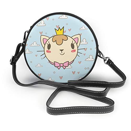 Yutess Damen PU Leder Reißverschluss rund Umhängetasche Handtasche Tasche für Arbeit Reisen Dating Süße Elvis-Personalisiert