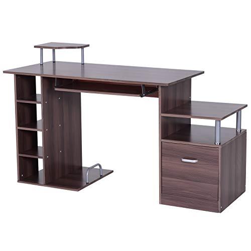 HOMCOM Mesa para PC Tipo Escritorio de Oficina para Ordenador - Madera E1 MDF - 152x60x80cm