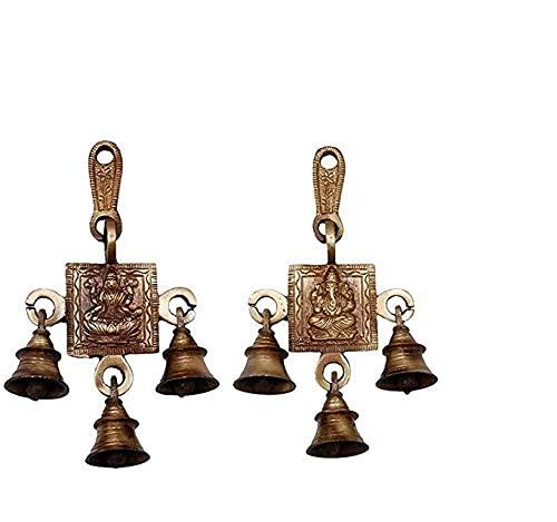 India Traditionele Laxmi Ganesha Bell Messing Deur Muur Hangings Standbeeld 8.5 cm Voor Diwali Feestelijke Home Decor…