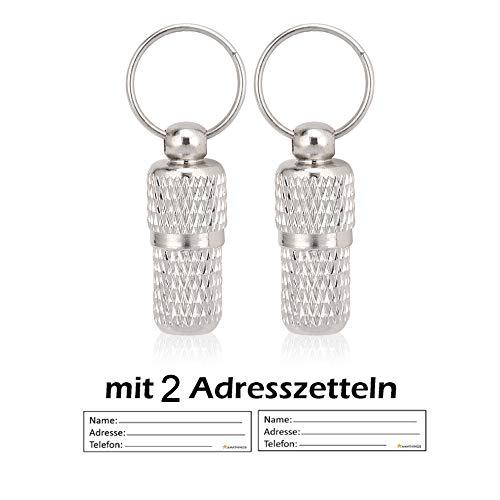 AMATHINGS 2 Stück ! (Doppelpack) Adressanhänger Geriffelt In Silber XS/Mini 2 cm Länge Für Hunde Und Katzen Mit Adressetiketten/Wasserdicht/Pillendose/Adresshülse