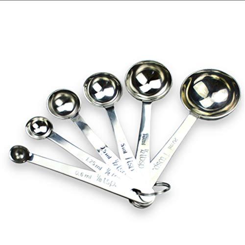 HYA Edelstahl Messlöffel Set mit 6 Stück stapelbare Küchen-Backen-Messwerkzeug für Backen Kicthen Craft