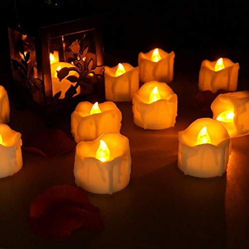 Strong Durable 12 Pcs/Lot Led Yellow Flicker Drop Tear Candle Tealight Electronic Flameless Candle Romance Lamp Flameless Candles Tealight for Wedding Birthday