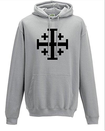 Jerusalem-Kreuz, Fünffach gefaltetes Kreuz, antikes historisches Symbol, Herren-Kapuzenpullover Gr. X-Large, grau