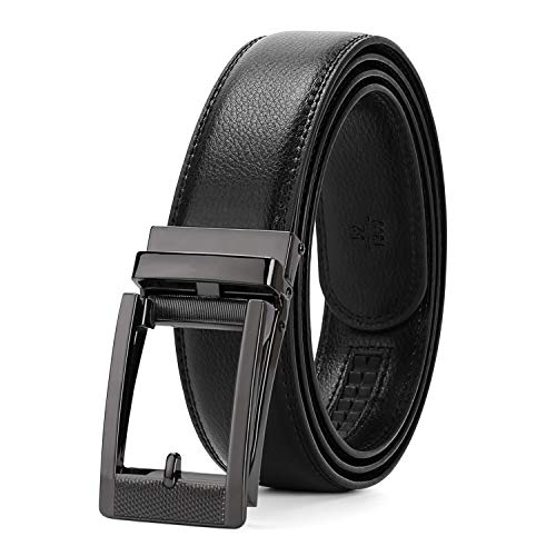 WERFORU Leather Ratchet Dress Belt for Men Perfect Fit Waist Size Up to 50 Inches with Automatic Buckle,03Style 2 -Black,Suit Pant Size 30-44 Inches