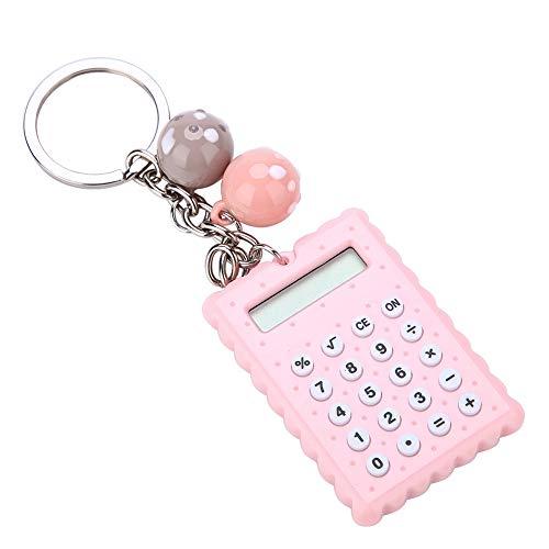 VBESTLIFE Mini-Taschenrechner, Portable Pocket Candy Farbe PVC 8-stelliger elektronischer Taschenrechner mit Silikonknöpfen und Schlüsselanhänger-Schnalle für Kinderstudenten(Rosa)