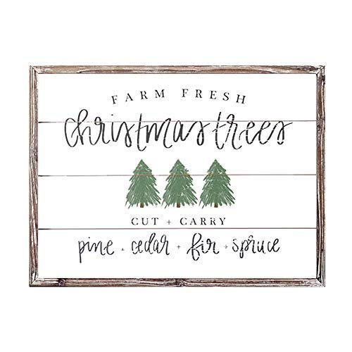 Sweet Water Decor Farm Fresh Christmas Trees Wood Sign 18x24 | Rustic Christmas Wall Art with Unique Distressed Wooden Frame | Farmhouse Holiday Decoration for Kitchen, Office, Living Room, and Home