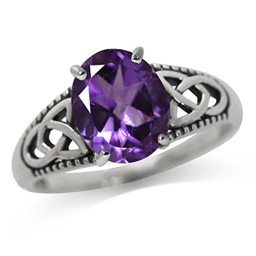 Silvershake 2.36ct. Natural African Amethyst 925 Sterling Silver Triquetra Celtic Knot Solitaire Ring Size 10