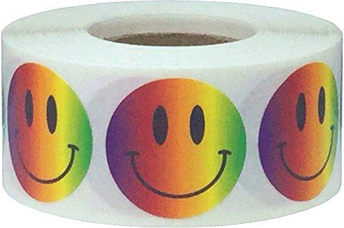 Regenboog Blij Gezicht Stickers, 25 mm 1 Inch Cirkel Labels 500 Pak