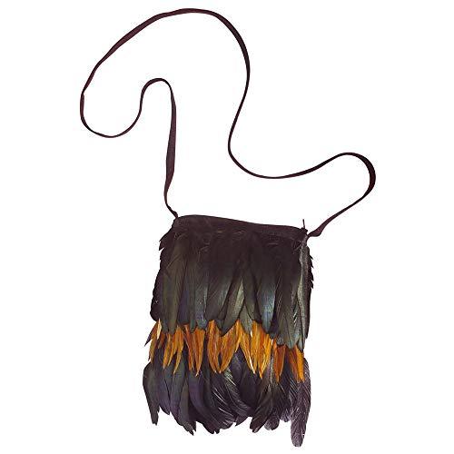 Widmann 6998B Indianer Handtasche mit Federn, Schwarz/Braun, Einheitsgröße